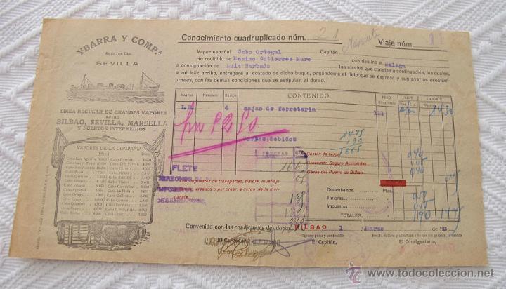 Líneas de navegación: LOTE Nº 3 DE 5 CONOCIMIENTOS DE EMBARQUE NAVIERA YBARRA Y SLOMAN - Foto 2 - 45914309