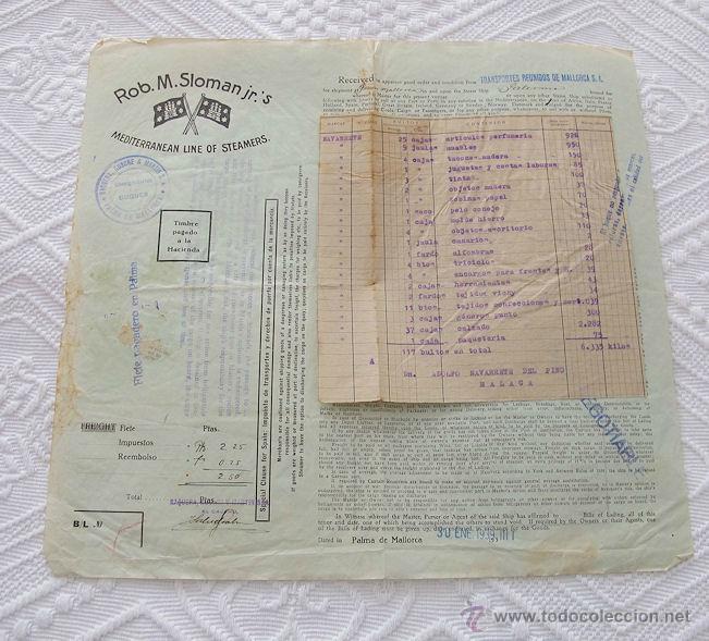 Líneas de navegación: LOTE Nº 3 DE 5 CONOCIMIENTOS DE EMBARQUE NAVIERA YBARRA Y SLOMAN - Foto 3 - 45914309