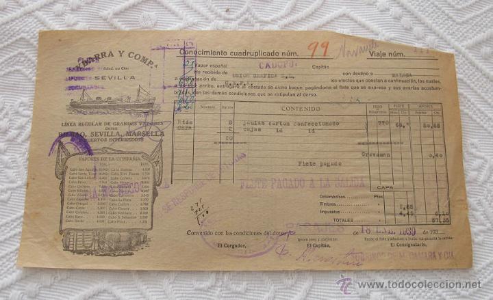 Líneas de navegación: LOTE Nº 3 DE 5 CONOCIMIENTOS DE EMBARQUE NAVIERA YBARRA Y SLOMAN - Foto 4 - 45914309