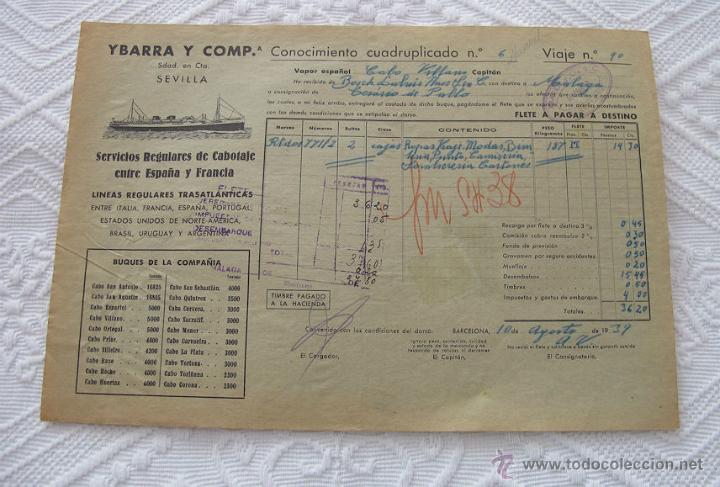 Líneas de navegación: LOTE Nº 3 DE 5 CONOCIMIENTOS DE EMBARQUE NAVIERA YBARRA Y SLOMAN - Foto 5 - 45914309