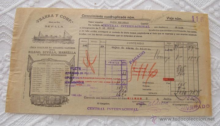 Líneas de navegación: LOTE Nº 3 DE 5 CONOCIMIENTOS DE EMBARQUE NAVIERA YBARRA Y SLOMAN - Foto 6 - 45914309