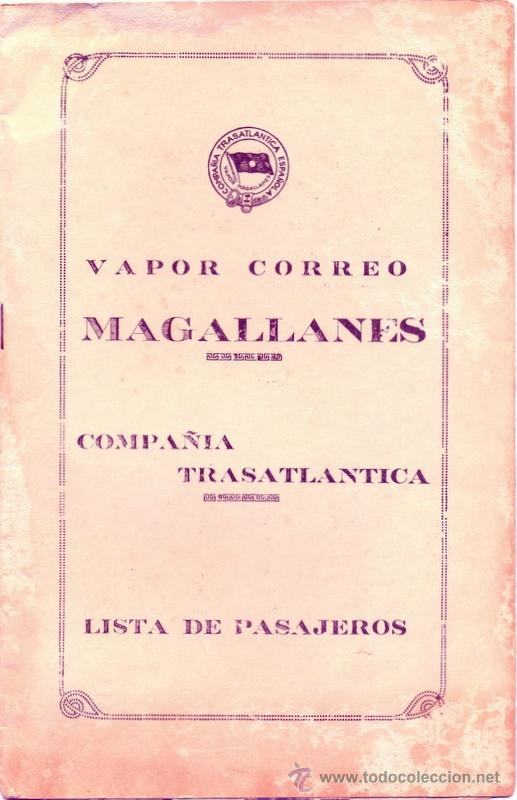 LISTA DE PASAJEROS DEL VAPOR MAGALLANES DE LA COMPAÑIA TRASATLANTICA,3 DE NOVIEMBRE DE 1950 (Coleccionismo - Líneas de Navegación)