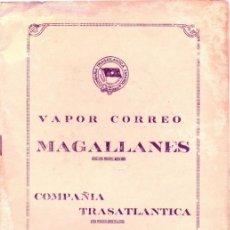 Líneas de navegación: LISTA DE PASAJEROS DEL VAPOR MAGALLANES DE LA COMPAÑIA TRASATLANTICA,3 DE NOVIEMBRE DE 1950. Lote 46705281