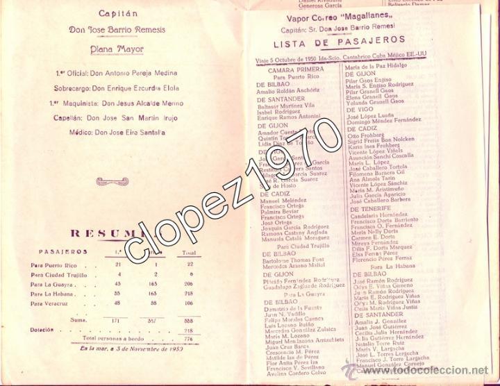 Líneas de navegación: LISTA DE PASAJEROS DEL VAPOR MAGALLANES DE LA COMPAÑIA TRASATLANTICA,3 DE NOVIEMBRE DE 1950 - Foto 2 - 46705281