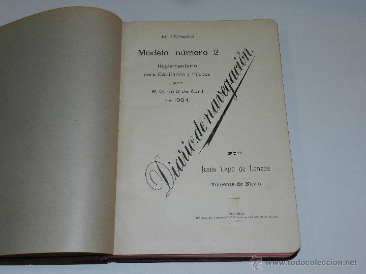 Líneas de navegación: LIBRO DIARIO DE NAVEGACION - LINEA DE VAPORES PINILLOS 1911, HABANA, PUERTO RICO, VALENCIA, CADIZ , - Foto 2 - 47576581