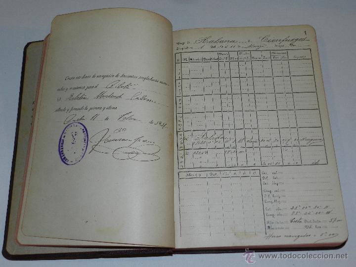 Líneas de navegación: LIBRO DIARIO DE NAVEGACION - LINEA DE VAPORES PINILLOS 1911, HABANA, PUERTO RICO, VALENCIA, CADIZ , - Foto 4 - 47576581