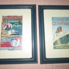 Líneas de navegación: LOTE 2 PROSPECTOS PUBLICIDAD-QUEEN MARY/LONDON & SOUTH WESTERN RAILWAY-LONDON.PARÍS-CON MARCO Y CRI. Lote 47755626
