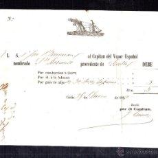 Líneas de navegación: CONOCIMIENTO. DOCUMENTO DE EMBARQUE. 1859. SEVILLA.. Lote 48313026