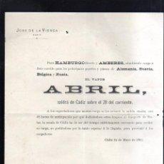 Líneas de navegación: CARTEL LINEA DE NAVEGACION. PARA HAMBURGO Y AMBERES. EL VAPOR ABRIL. 1901. LEER. Lote 48624612