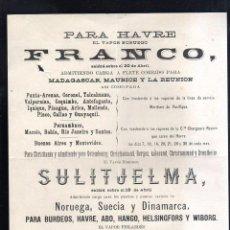 Líneas de navegación: CARTEL LINEA DE NAVEGACION. PARA HAVRE. VAPOR NORUEGO FRANCO - VAPOR NORUEGO SULTJELMA. LEER. Lote 48624698