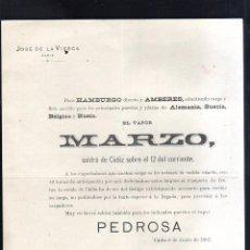 Líneas de navegación: CARTEL LINEA DE NAVEGACION. PARA HAMBURGO Y AMBERES. EL VAPOR MARZO. 1901. LEER. Lote 48624708