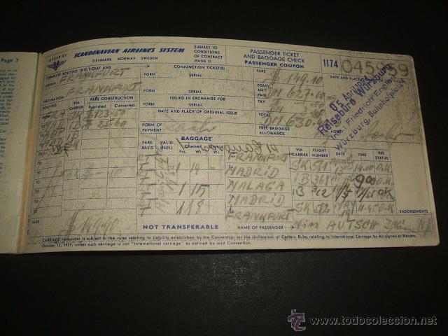 Líneas de navegación: SCANDINAVIAN COMPAÑIA AEREA TICKET DE PASAJERO Y EQUIPAJE VUELO IDA Y VUELTA FRANKFURT MADRID MALAGA - Foto 3 - 48737948