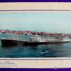 Líneas de navegación: FOTO DEL CARGUERO GUERNICA DE LA NAVIERA VIZCAINA EN PORT-SAID (EGIPTO). Y FOLIO MEMBRETADO. AÑOS 50. Lote 49057455