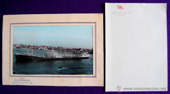 Líneas de navegación: FOTO DEL CARGUERO GUERNICA DE LA NAVIERA VIZCAINA EN PORT-SAID (EGIPTO). Y FOLIO MEMBRETADO. AÑOS 50 - Foto 2 - 49057455