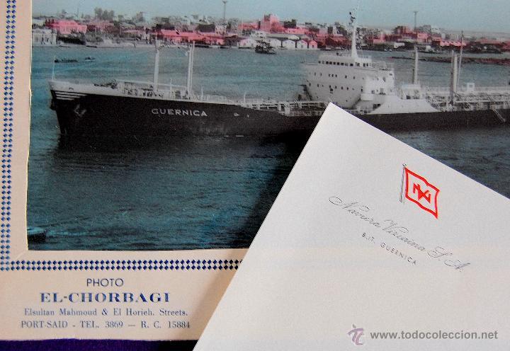 Líneas de navegación: FOTO DEL CARGUERO GUERNICA DE LA NAVIERA VIZCAINA EN PORT-SAID (EGIPTO). Y FOLIO MEMBRETADO. AÑOS 50 - Foto 3 - 49057455
