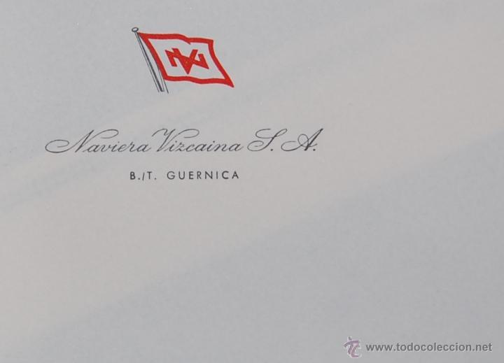 Líneas de navegación: FOTO DEL CARGUERO GUERNICA DE LA NAVIERA VIZCAINA EN PORT-SAID (EGIPTO). Y FOLIO MEMBRETADO. AÑOS 50 - Foto 5 - 49057455