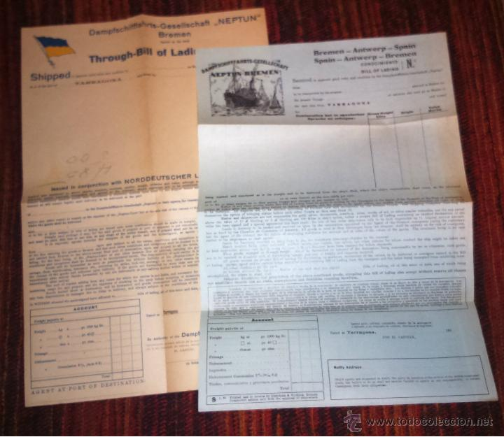 DOS CONOCIMIENTOS DE EMBARQUE - BILL OF LADING - COMPAÑIA NEPTUN BREMEN -EN BLANCO - (Coleccionismo - Líneas de Navegación)