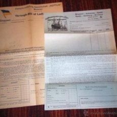 Líneas de navegación: DOS CONOCIMIENTOS DE EMBARQUE - BILL OF LADING - COMPAÑIA NEPTUN BREMEN -EN BLANCO -. Lote 49848022