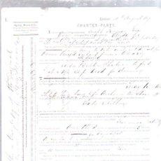 Líneas de navegación: CONTRATO DE FLETAMENTO. BARCO ALINDA Y COMPAÑIA LIEBIG EXTRACT OF MEAT. CARGA DE SAL. 1873. Lote 50099388
