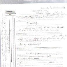 Líneas de navegación: CONTRATO DE FLETAMENTO. BARCO STRASSBURG Y COMPAÑIA LIEBIG EXTRACT OF MEAT. CARGA DE SAL. 1873. Lote 50099459