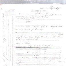 Líneas de navegación: CONTRATO DE FLETAMENTO. BARCO CONFIDO Y COMPAÑIA LIEBIG EXTRACT OF MEAT. CARGA DE SAL. 1873. Lote 50099504