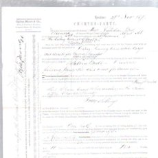Líneas de navegación: CONTRATO DE FLETAMENTO. BARCO ALFRED Y COMPAÑIA LIEBIG EXTRACT OF MEAT. CARGA DE SAL. 1873. Lote 50099532