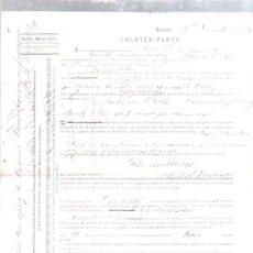 Líneas de navegación: CONTRATO DE FLETAMENTO. BARCO MILICENT Y COMPAÑIA LIEBIG EXTRACT OF MEAT. CARGA DE SAL. 1873. Lote 50099616