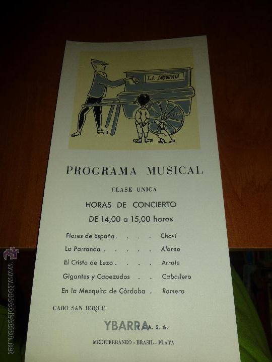 BONITO PROGRAMA MUSICAL DEL BARCO CABO SAN ROQUE, YBARRA, MEDITERRANEO-BRASIL-PLATA, 26 X 13 CM. (Coleccionismo - Líneas de Navegación)