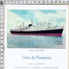 Líneas de navegación: LISTA PASAJEROS MOTONAVE GUADALUPE COMPAÑIA TRASATLANTICA ESPAÑOLA.S.A.1964.. Lote 50826920