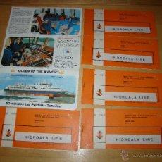 Líneas de navegación: RARISIMO LOTE DE BILLETES PASAJES DEL QUEEN OF THE WAVES - HIDRO LINE - LAS PALMAS - TENERIFE. Lote 51445471