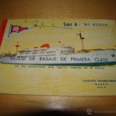 Líneas de navegación: ANTIGUO BILLETE PASAJE COMPAÑÍA TRASMEDITERRANEA . Lote 51494718