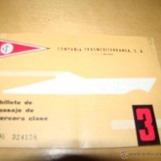 Líneas de navegación: ANTIGUO BILLETE PASAJE COMPAÑÍA TRASMEDITERRANEA . Lote 51494738
