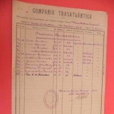 Líneas de navegación: ANTIGUA LISTA DE PASAJEROS DEL VAPOR _REINA VICTORIA-EUGENIA_ AÑO 1926. FP00067. Lote 52327601