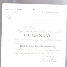 Líneas de navegación: CARTEL. TAMAÑO A4. VAPOR GUERNICA CON SALIDA PARA SUDAMERICA. 1901. Lote 52812134