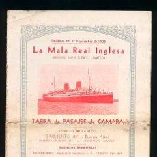 Líneas de navegación: TARIFA DE PASAJE DE CAMARA LA MALA REAL INGLESA 1935 NAVEGACION VAPOR ASTURIAS ALCANTARA ARLANZA. Lote 52952455
