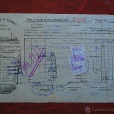 Líneas de navegación: MÁLAGA. FLETE VAPOR CABO ORTEGAL. 1939. A PASAJES. 2 VIÑETAS BENEFICENCIA MÁLAGA 5 CENTS.. Lote 52952458
