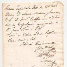 Linhas de navegação: DOCUMENTACION DE EMBARQUE DE LA CORBETA INES DE CADIZ A LA HABANA 1839. NAUTICA. BUQUE. DESERTORES. Lote 53660833
