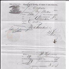 Líneas de navegación: DOCUMENTO DE EMBARQUE DE NUEVA YORK A CADIZ. 1835.. Lote 53970369
