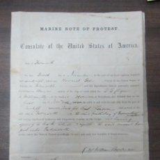 Líneas de navegación: CONSULADO DE ESTADOS UNIDOS EN FALMOUTH. SELLO SECO. CERTIFICADO MAL TIEMPO TRAVESIA. 1878. Lote 53970850