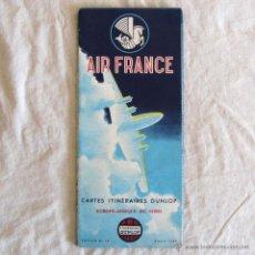 Líneas de navegación: AIR FRANCE 1953 ITINERARIOS MAPA EUROPA NORTE DE ÁFRICA DUNLOP. Lote 54008908