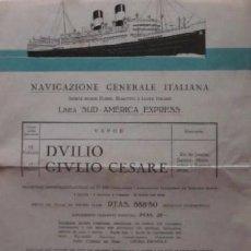 Líneas de navegación: TRANSATLANTICOS DUILIO Y GIULIO CESARE - NAVIGAZIONE GENERALE ITALIANA - AÑO 1931. Lote 54036245