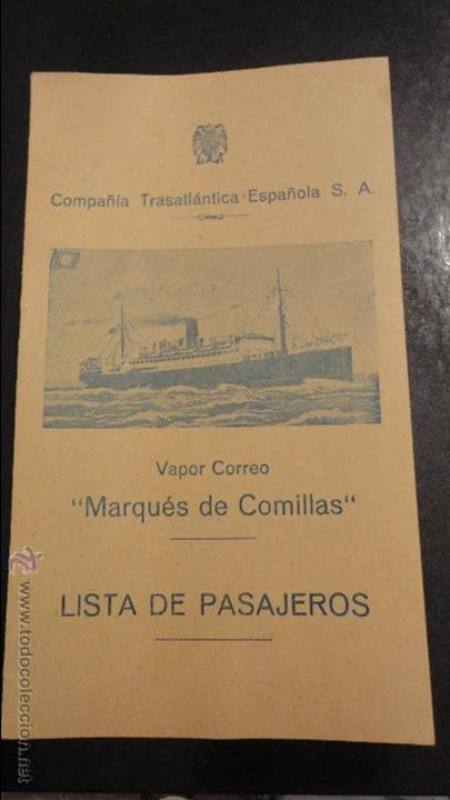 COMPAÑIA TRASATLANTICO ESPAÑOLA.S.A.VAPOR CORREO MARQUES DE COMILLAS.LISTADO DE PASAJEROS.1957. (Coleccionismo - Líneas de Navegación)