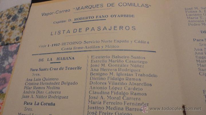 Líneas de navegación: COMPAÑIA TRASATLANTICO ESPAÑOLA.S.A.VAPOR CORREO MARQUES DE COMILLAS.LISTADO DE PASAJEROS.1957. - Foto 3 - 54135064