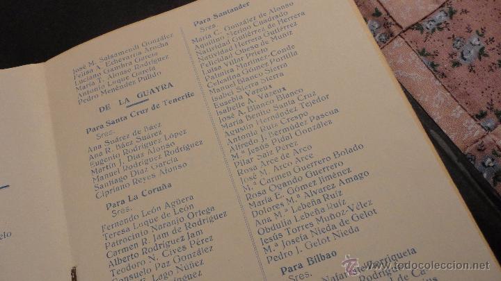 Líneas de navegación: COMPAÑIA TRASATLANTICO ESPAÑOLA.S.A.VAPOR CORREO MARQUES DE COMILLAS.LISTADO DE PASAJEROS.1957. - Foto 5 - 54135064