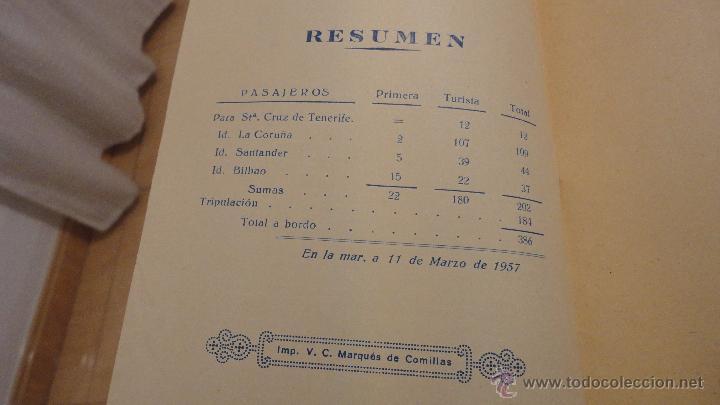 Líneas de navegación: COMPAÑIA TRASATLANTICO ESPAÑOLA.S.A.VAPOR CORREO MARQUES DE COMILLAS.LISTADO DE PASAJEROS.1957. - Foto 6 - 54135064