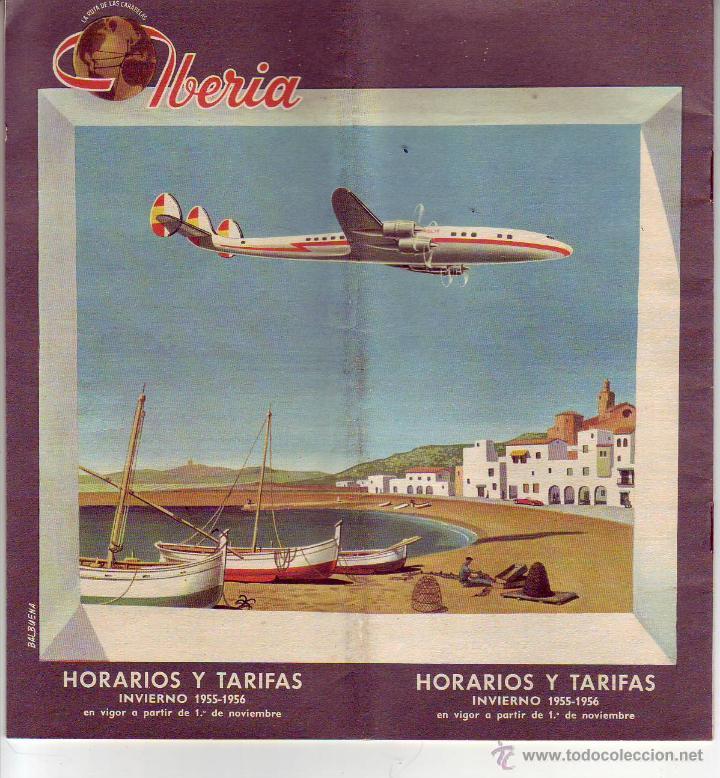 IBERIA HORARIOS Y TARIFAS 1955-1956 (Coleccionismo - Líneas de Navegación)