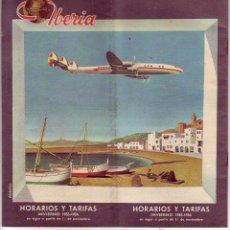 Líneas de navegación: IBERIA HORARIOS Y TARIFAS 1955-1956. Lote 54646638