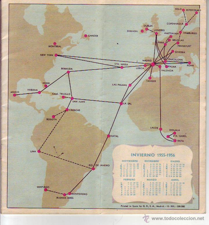 Líneas de navegación: iberia horarios y tarifas 1955-1956 - Foto 2 - 54646638