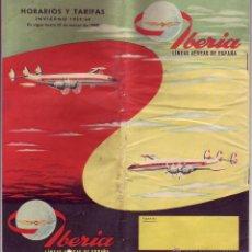 Líneas de navegación: IBERIA HORARIOS Y TARIFAS 1959-1960. Lote 54646668