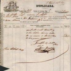 Líneas de navegación: FÁCTURA DE CABOTAGE.SEVILLA-CÁDIZ.AÑO 1856.. Lote 54696202